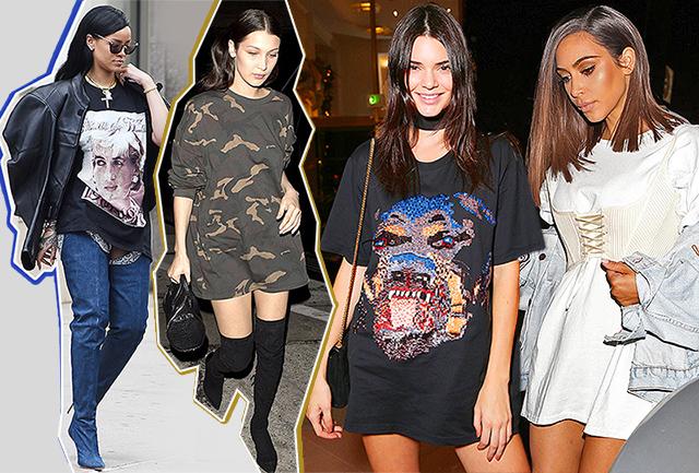 Тренд: Ким Кардашьян, Рианна и другие звезды, которые носят мужскую футболку вместо платья