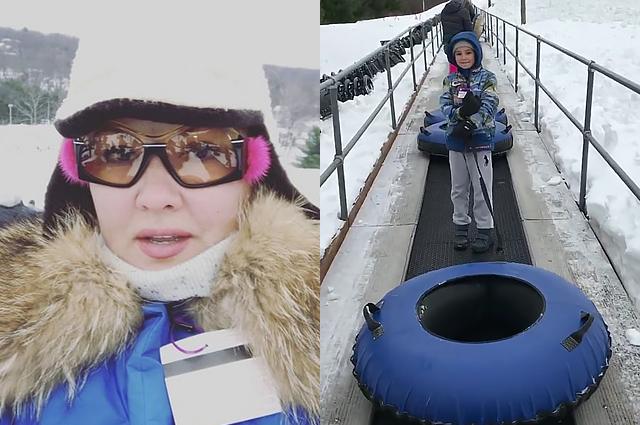 """Анна Нетребко вернулась в зиму и прокатила сына Тьяго на """"ватрушке"""""""