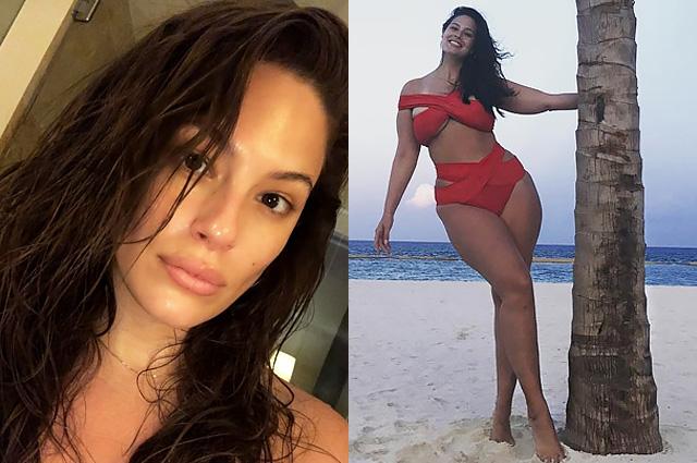 Эшли Грэм показала лицо без макияжа и фигуру в красном купальнике на пляже