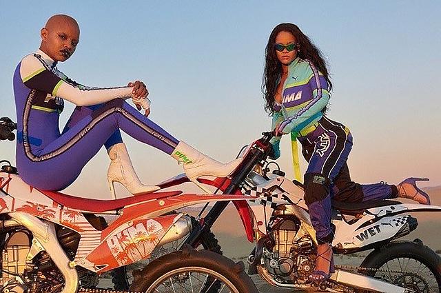 Рианна в образе соблазнительной мотогонщицы появилась на снимках весенней рекламной кампании Fenty x Puma