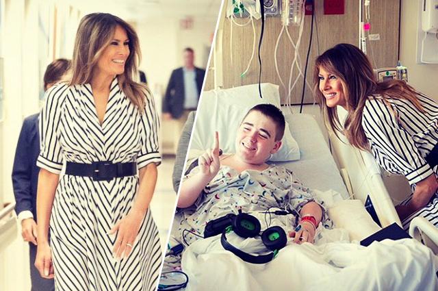 Мелания Трамп в легком весеннем платье навестила детей в больнице
