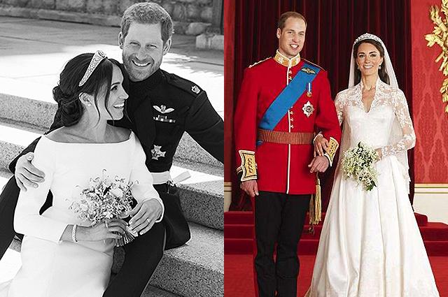 В сети сравнивают свадебные портреты принца Гарри и Меган Маркл с фотографиями принца Уильяма и Кейт Миддлтон