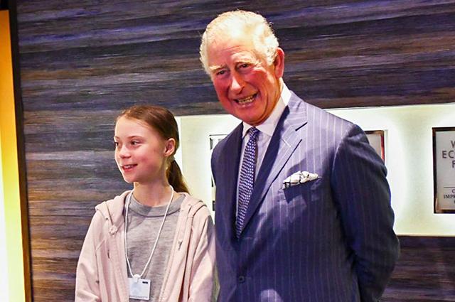 Принц Чарльз встретился с экоактивисткой Гретой Тунберг на экономическом форуме в Давосе